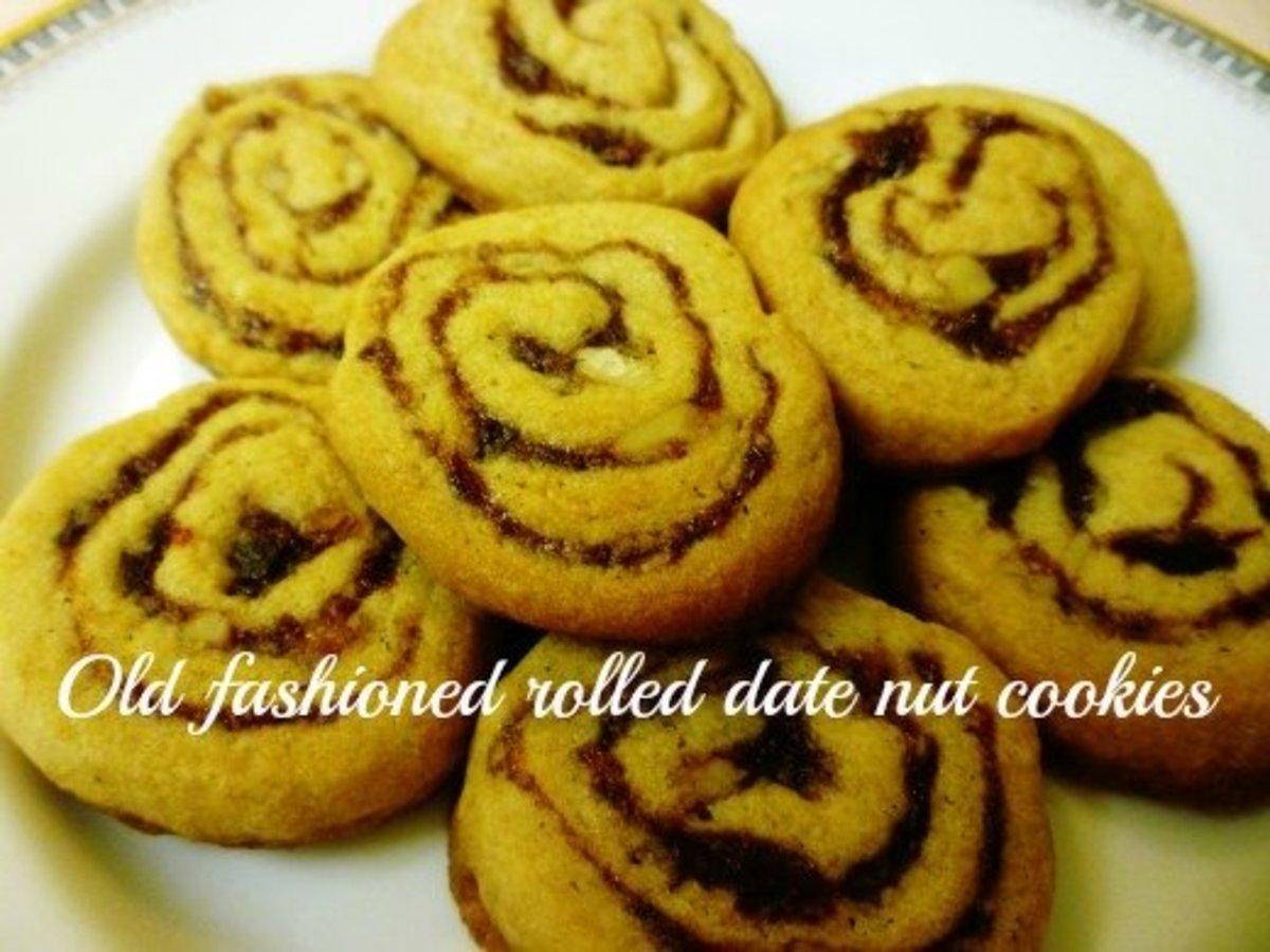 Old-Fashioned Heritage Rolled Pinwheel Cookies With Dates and Nuts