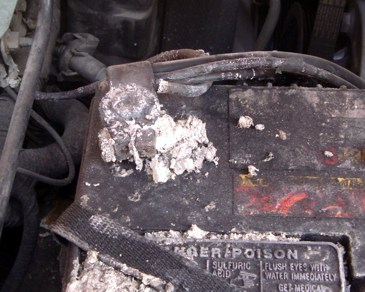 This battery terminal has corroded to the point that it is no longer reliable and is in bad need of cleaning.