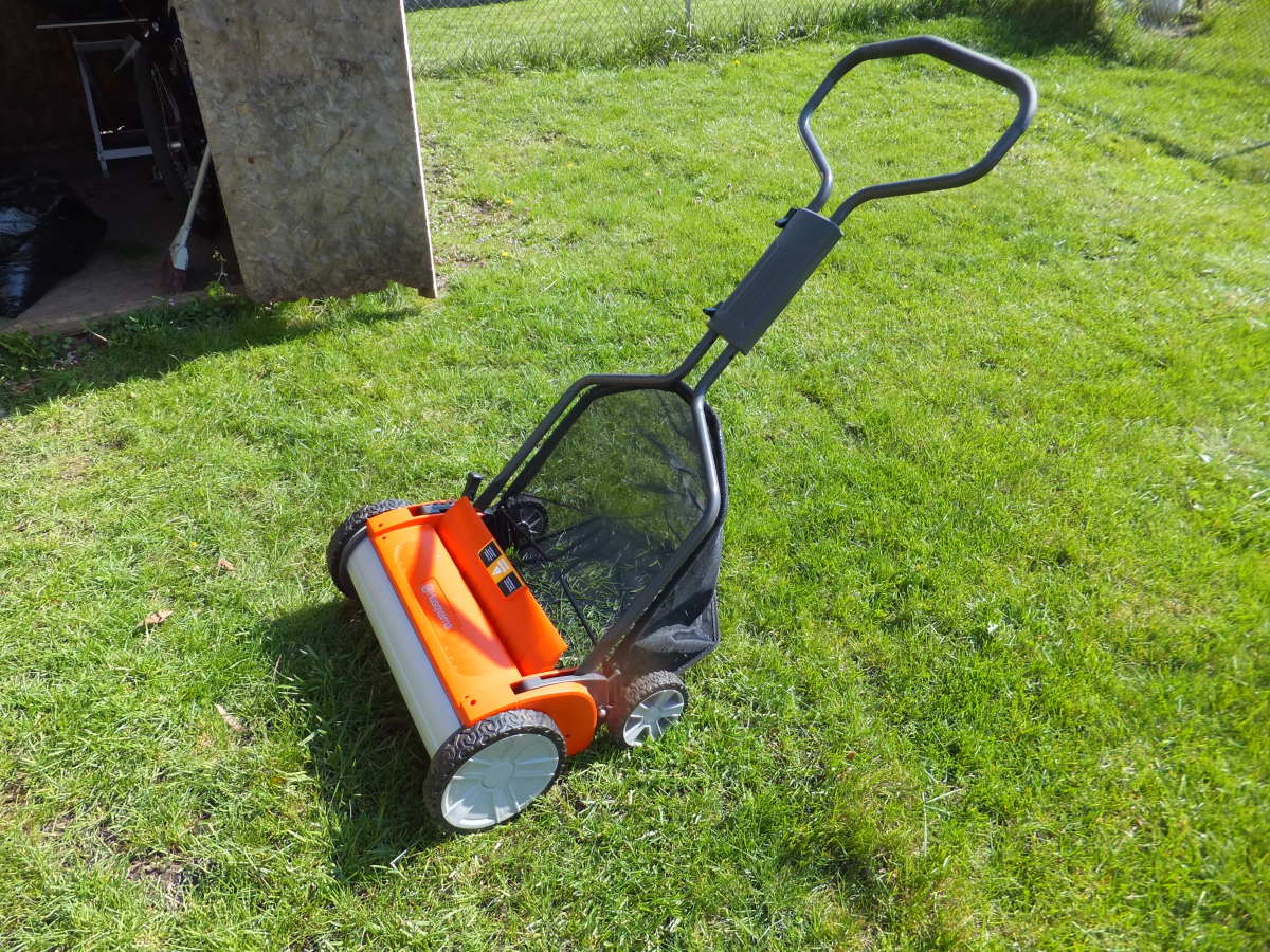 The Husqvarna Evolution reel lawn mower.