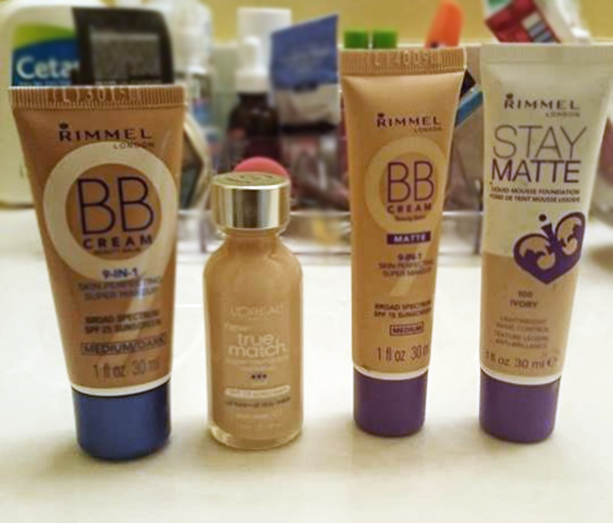 Rimmel's BB Creams and L'Oreal True Match Foundation side by side