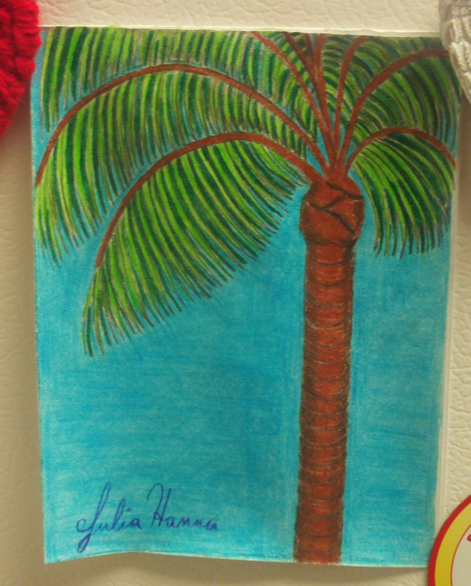 Drawing A Palm Tree On A Card