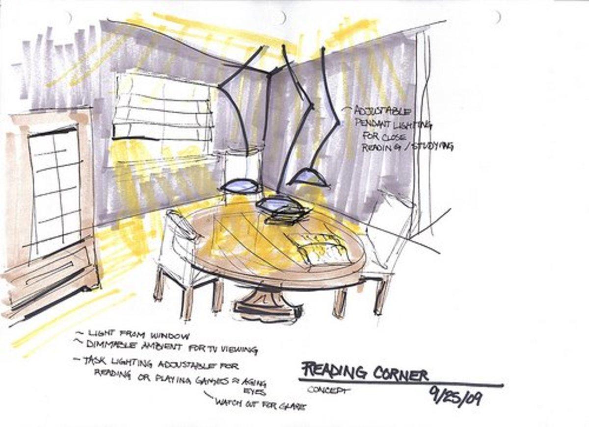 Example of an interior design conceptual sketch.