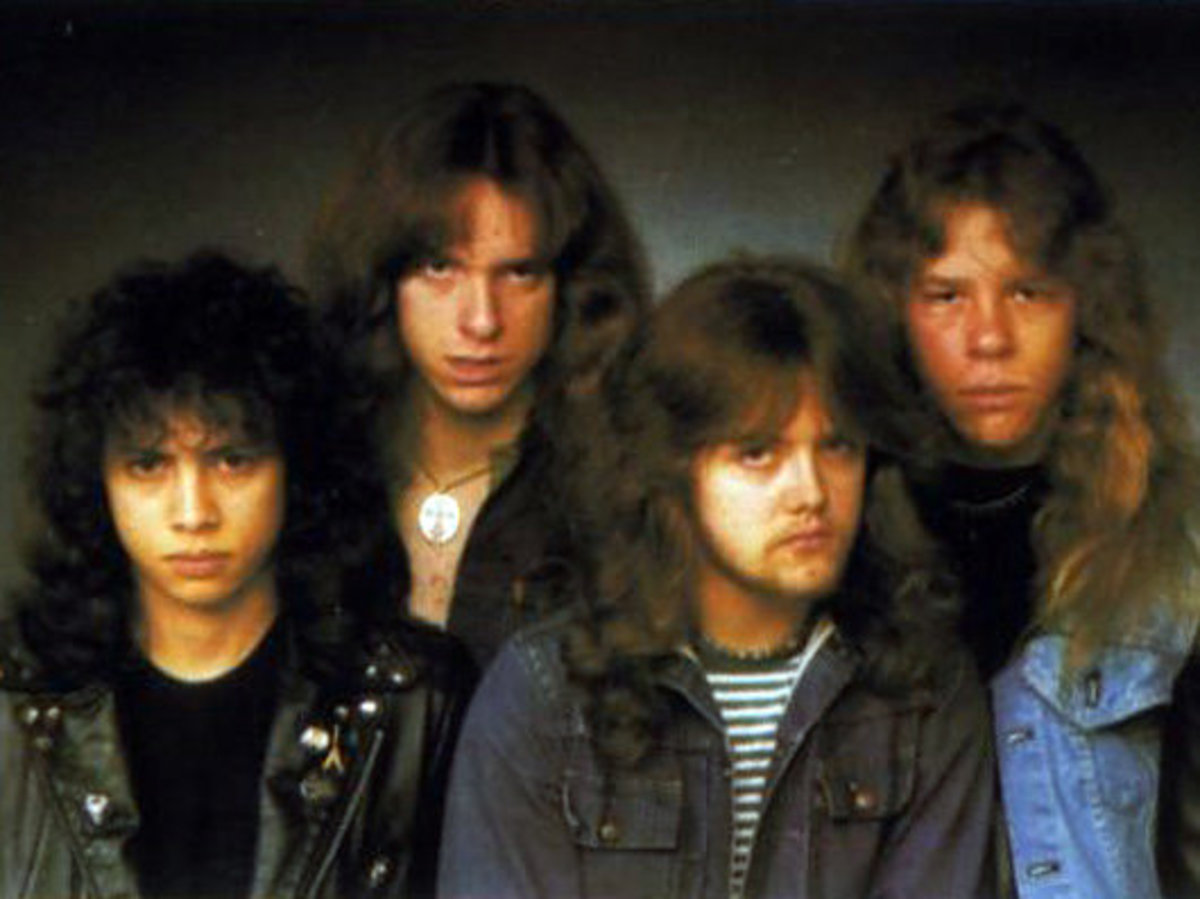Metallica 1983: (L-R) Kirk Hammett, Cliff Burton (R.I.P.), Lars Ulrich, James Hetfield