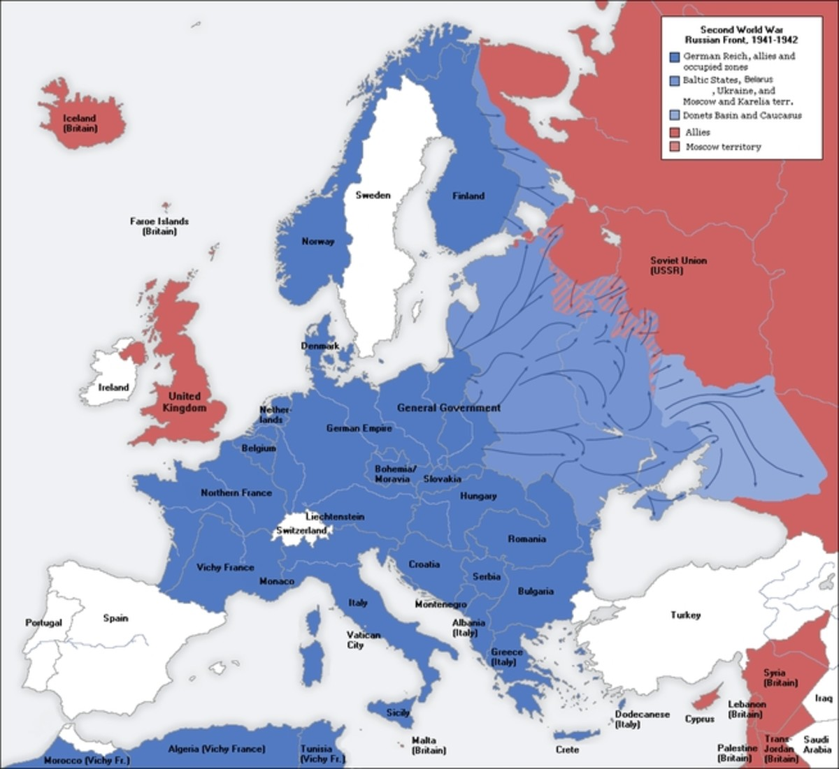 WW2: Switzerland (white) surrounded by territory controlled by the Axis Powers (blue) from 1940 to 1944.
