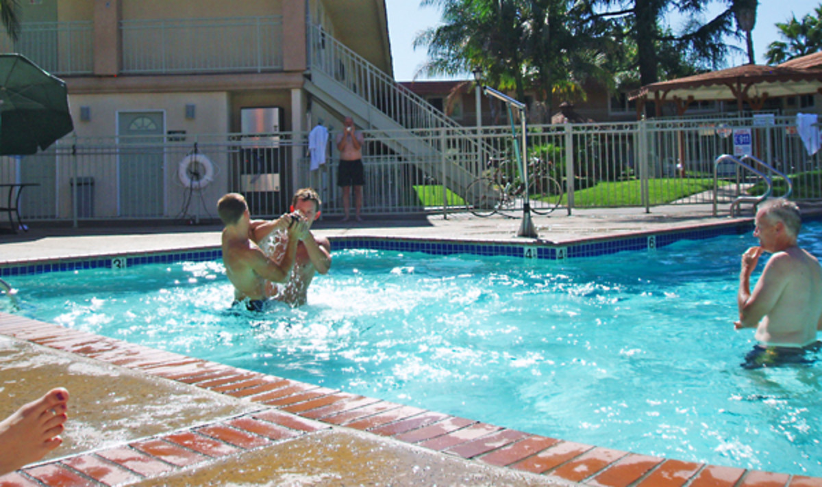 Motel pools almost always use chlorine to prevent transmitting disease from one guest to another. Warnings abound about washing your hair immediately after swimming to prevent yellow bleaching, and washing your swimsuit to prevent it fading out.