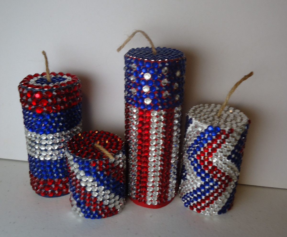 DIY 4th of July Decorations - Jeweled Firecrackers!