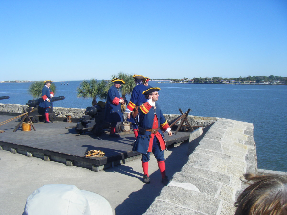 Cannon firing demonstration at the Castillo de San Marcos.  There are regular historical reenactments for the education and entertainment of visitors to the fortress.  The 17th century building was originally built by the Spanish.