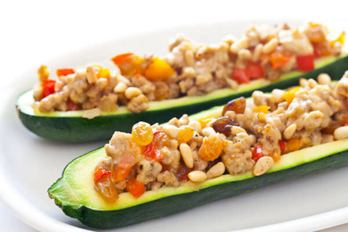 Stuffed Courgette Or Zucchini With Almonds