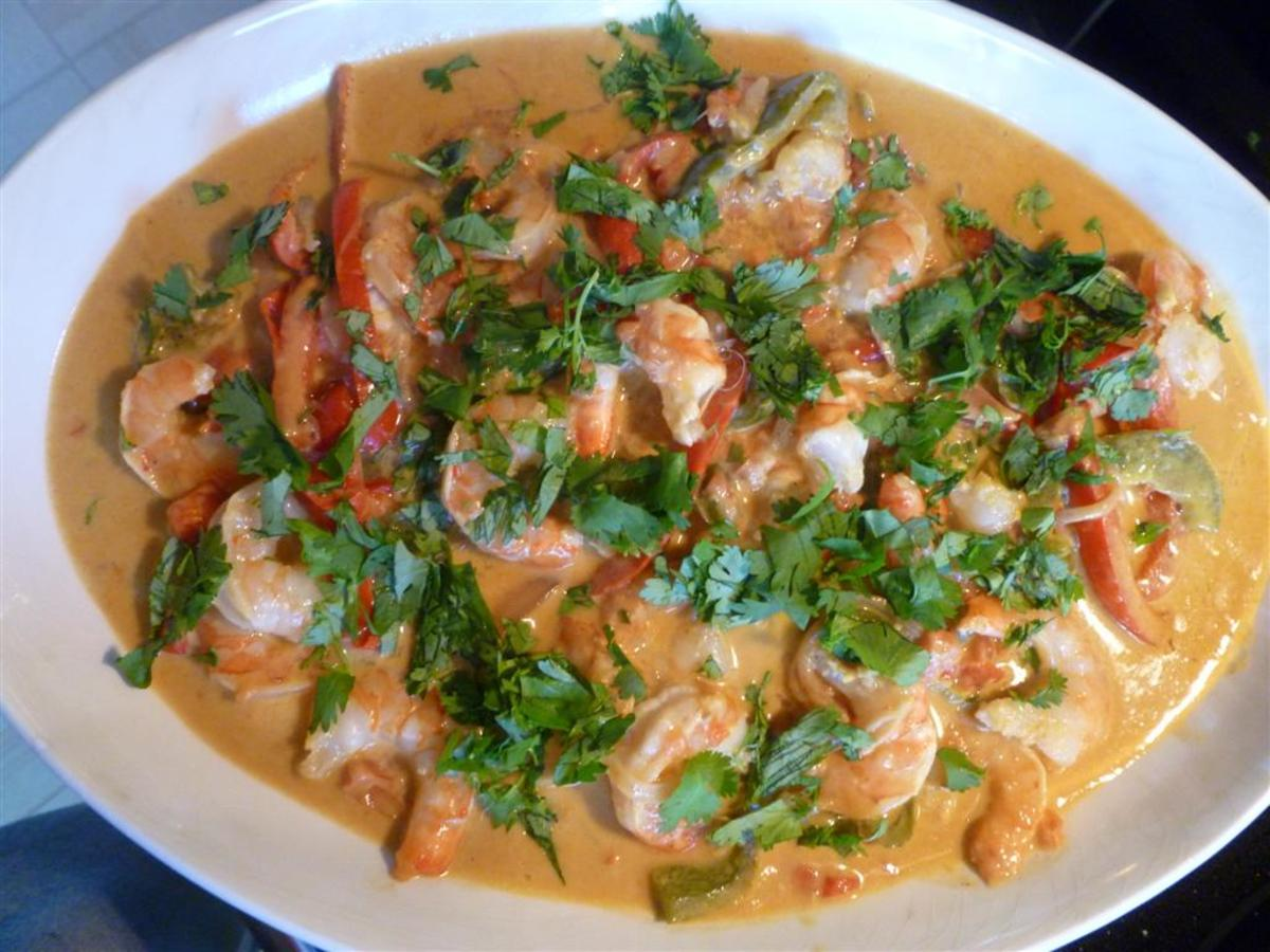 Shrimp recipes - Curry shrimp and peppers