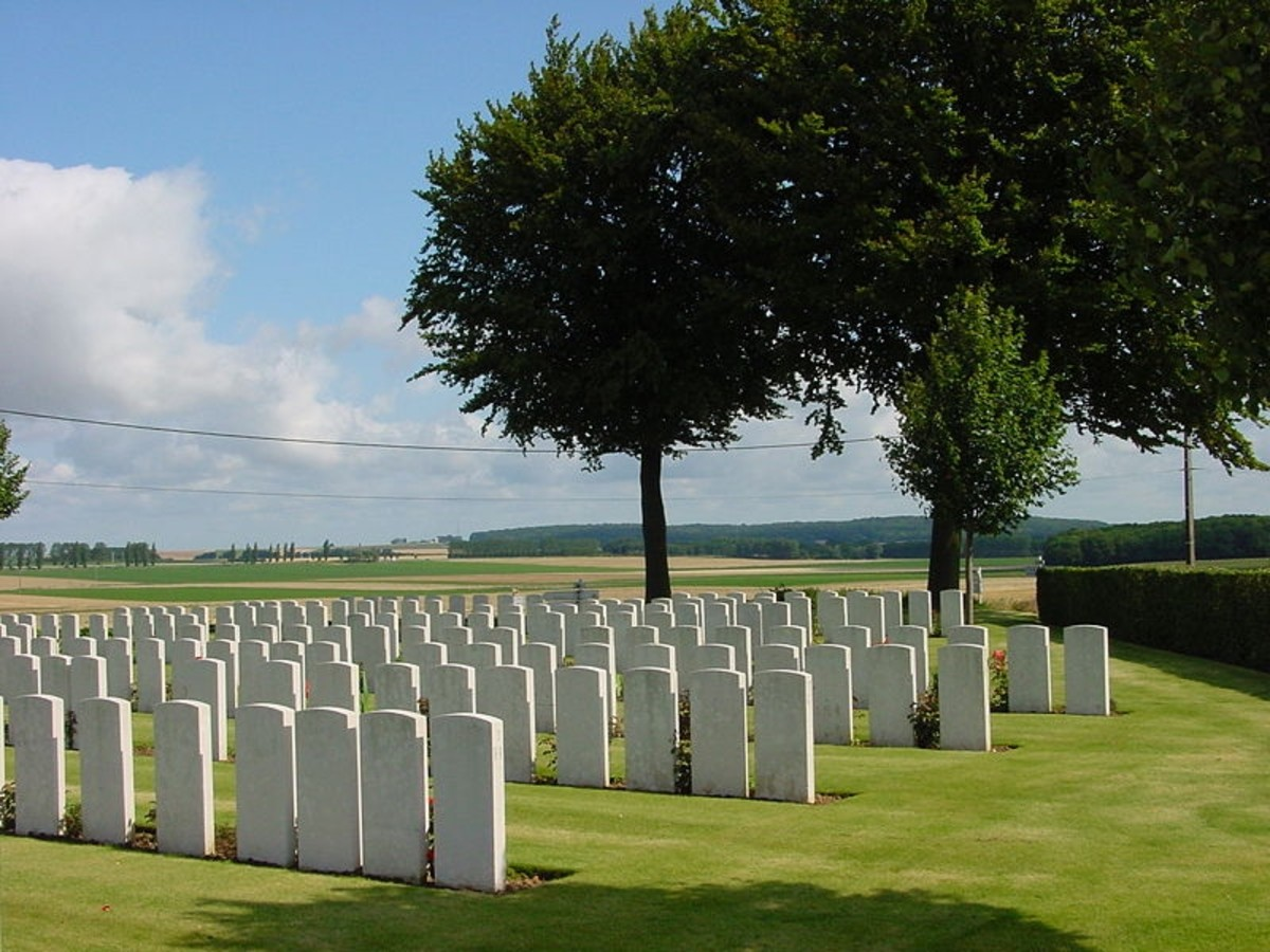 """Landowners"" in a ""rest camp"". Flesquieres Hill British Cemetery near Cambrai - the site of the battle of Cambrai (1917) in World War I."