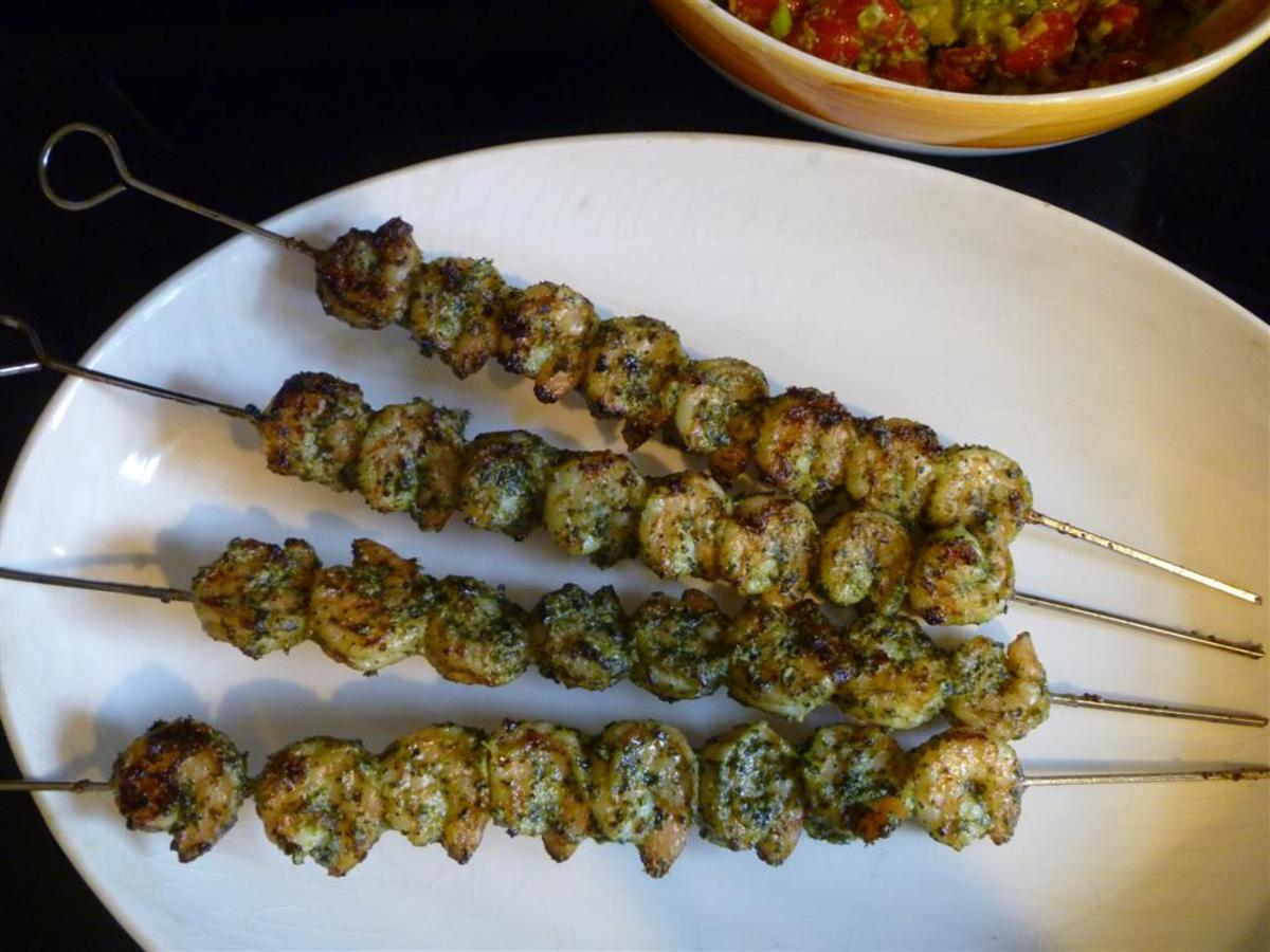 Grilled Shrimp Skewers With Pesto and Pernod