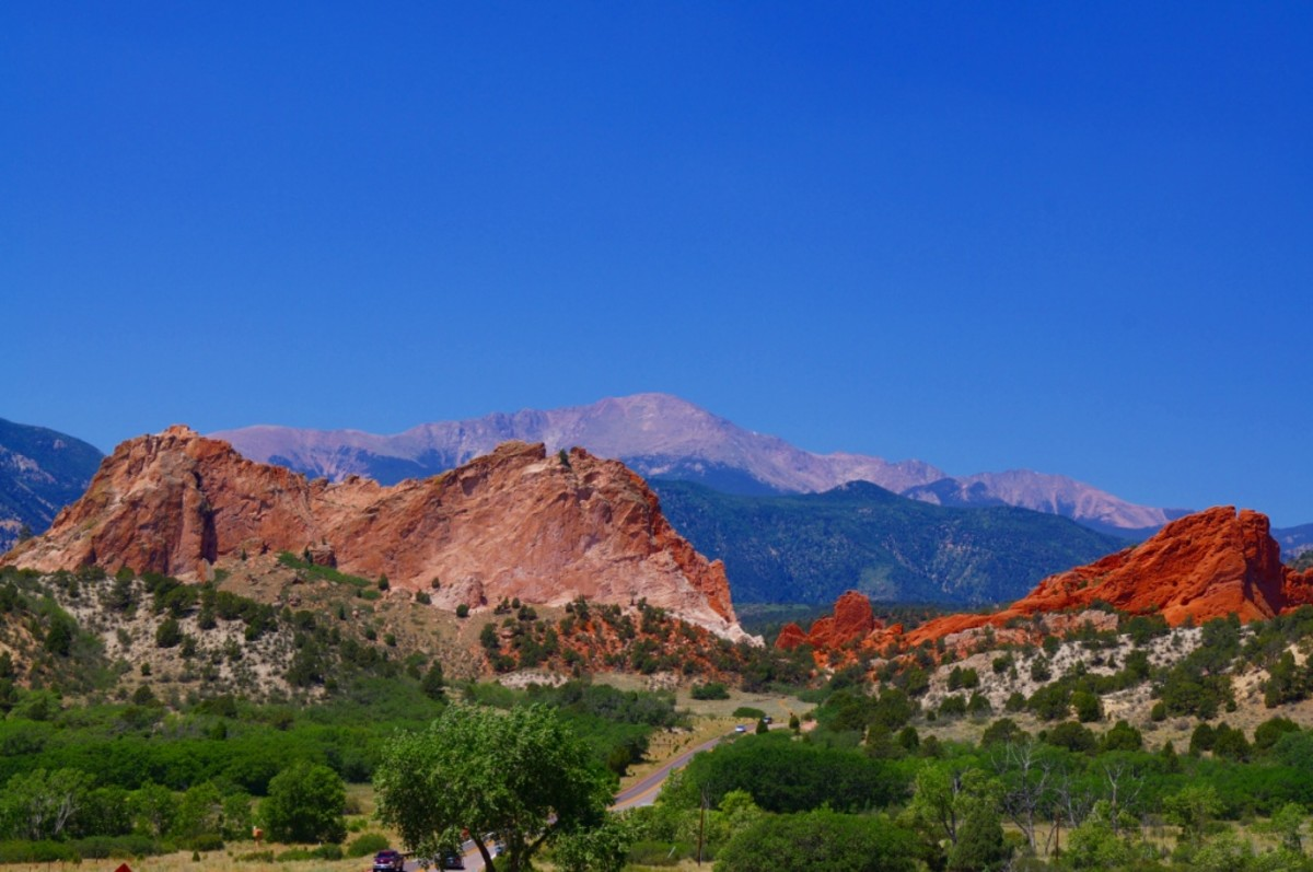 Garden of the Gods with Pikes Peak in the background.  The Ute Indians often wintered at the Garden and had a tradition of ascending the Peak.