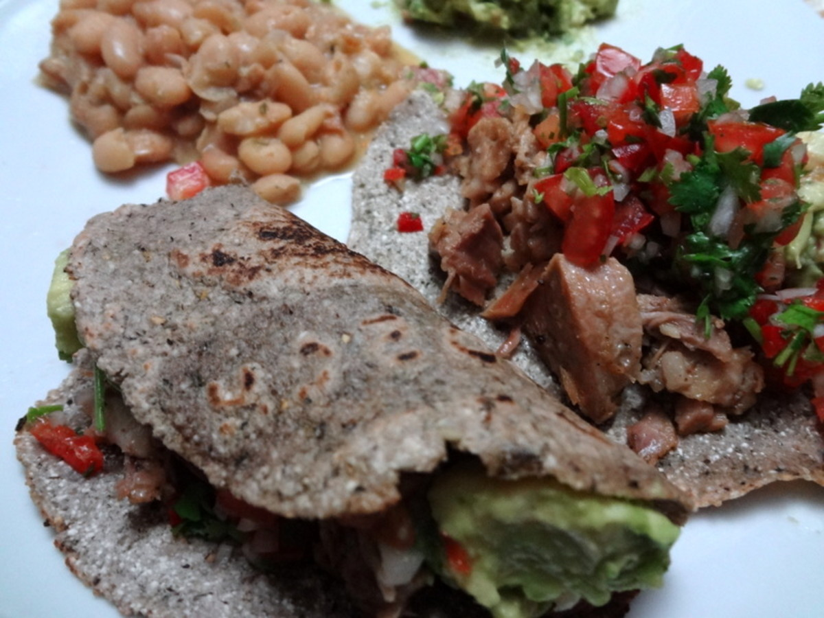 Homemade Purple Corn Tortillas with Pork and Salsa