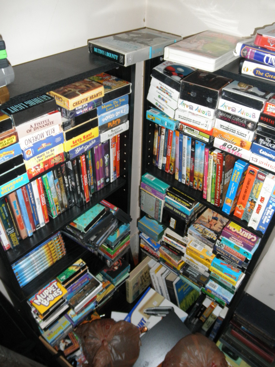 Here is a picture of how I store my VHS tapes as well as DVDs. I sell most of these on Ebay but some of them on Amazon as well! As you can see, they hold quite a lot of VHS tapes!
