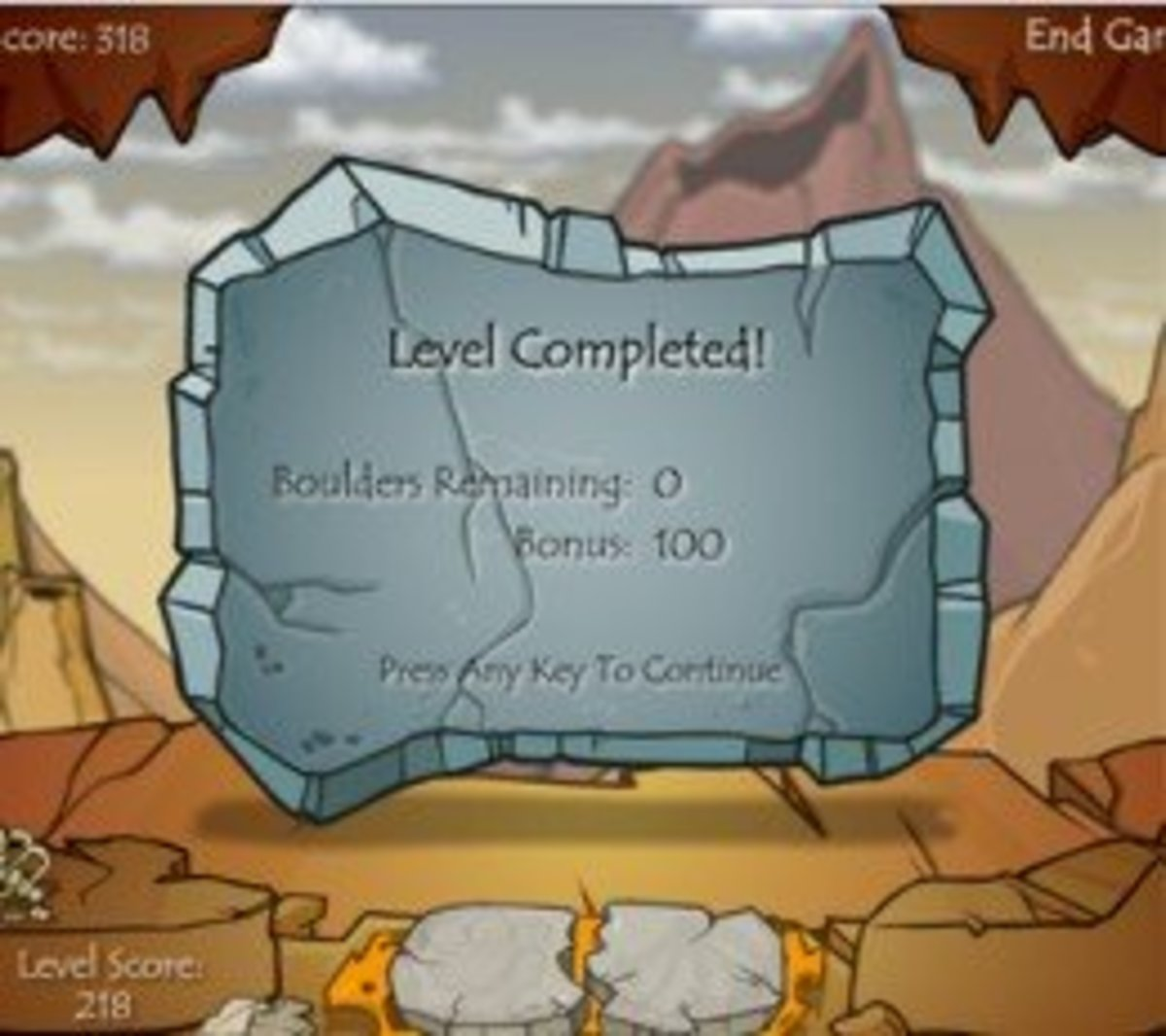 If you have less than ten boulders left at the end of the level, you get a bonus!