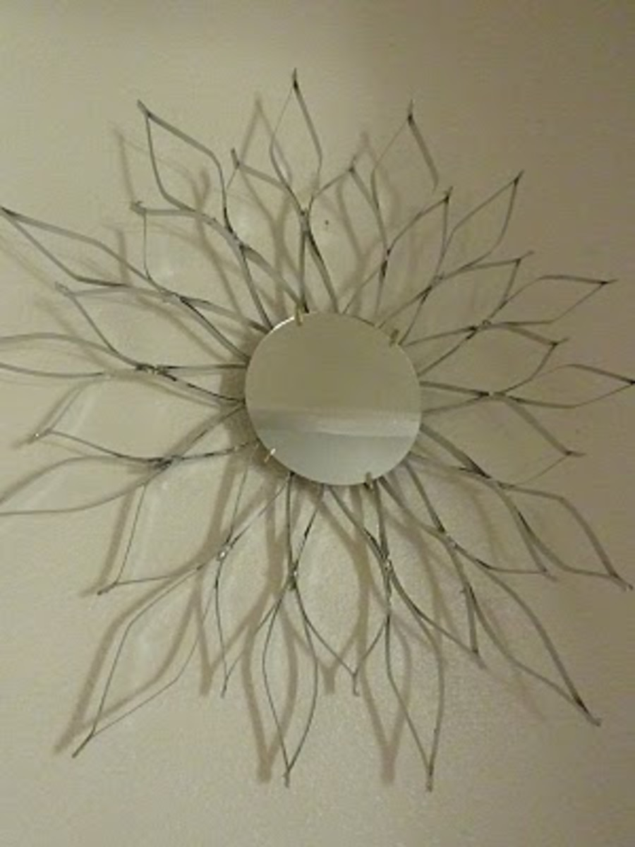Sunburst mirror made from a cereal box.