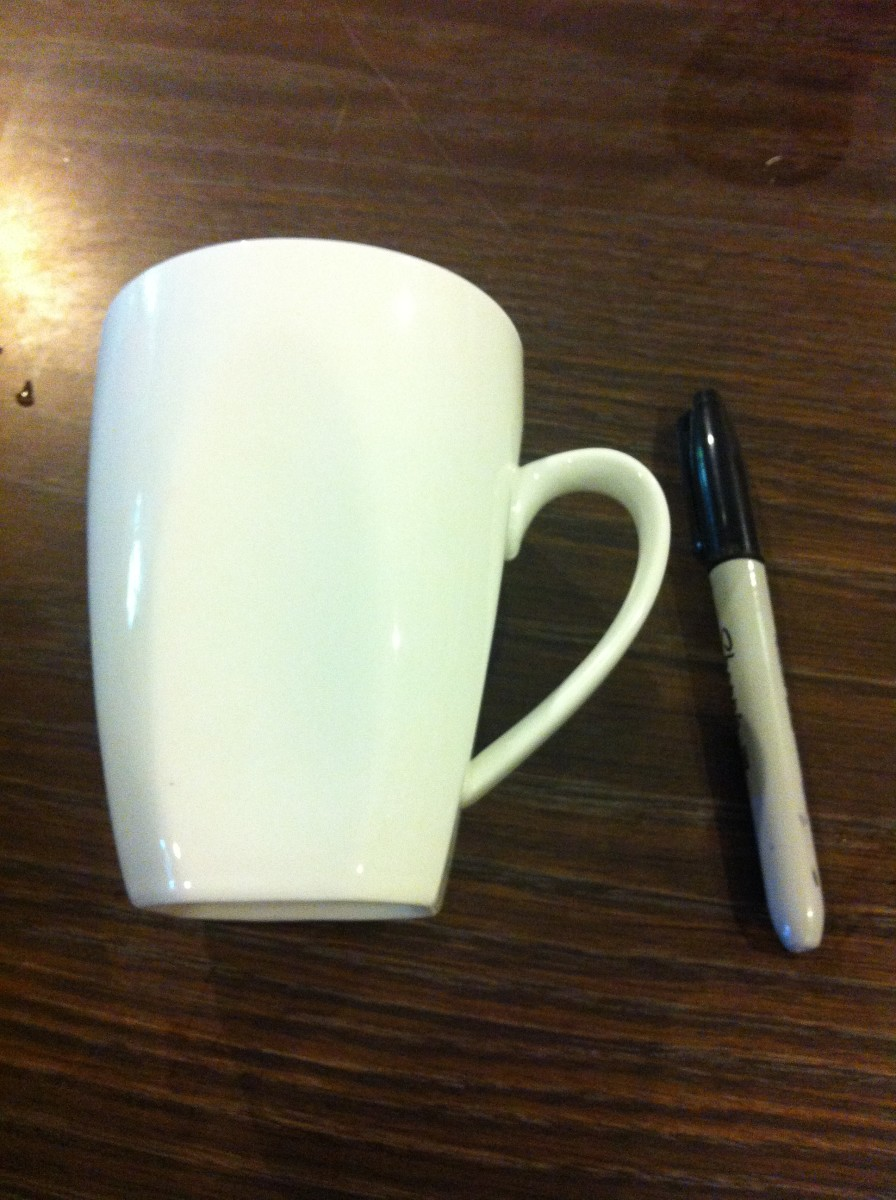 Decorating a coffee mug with a sharpie feltmagnet for Coffee mug craft kit