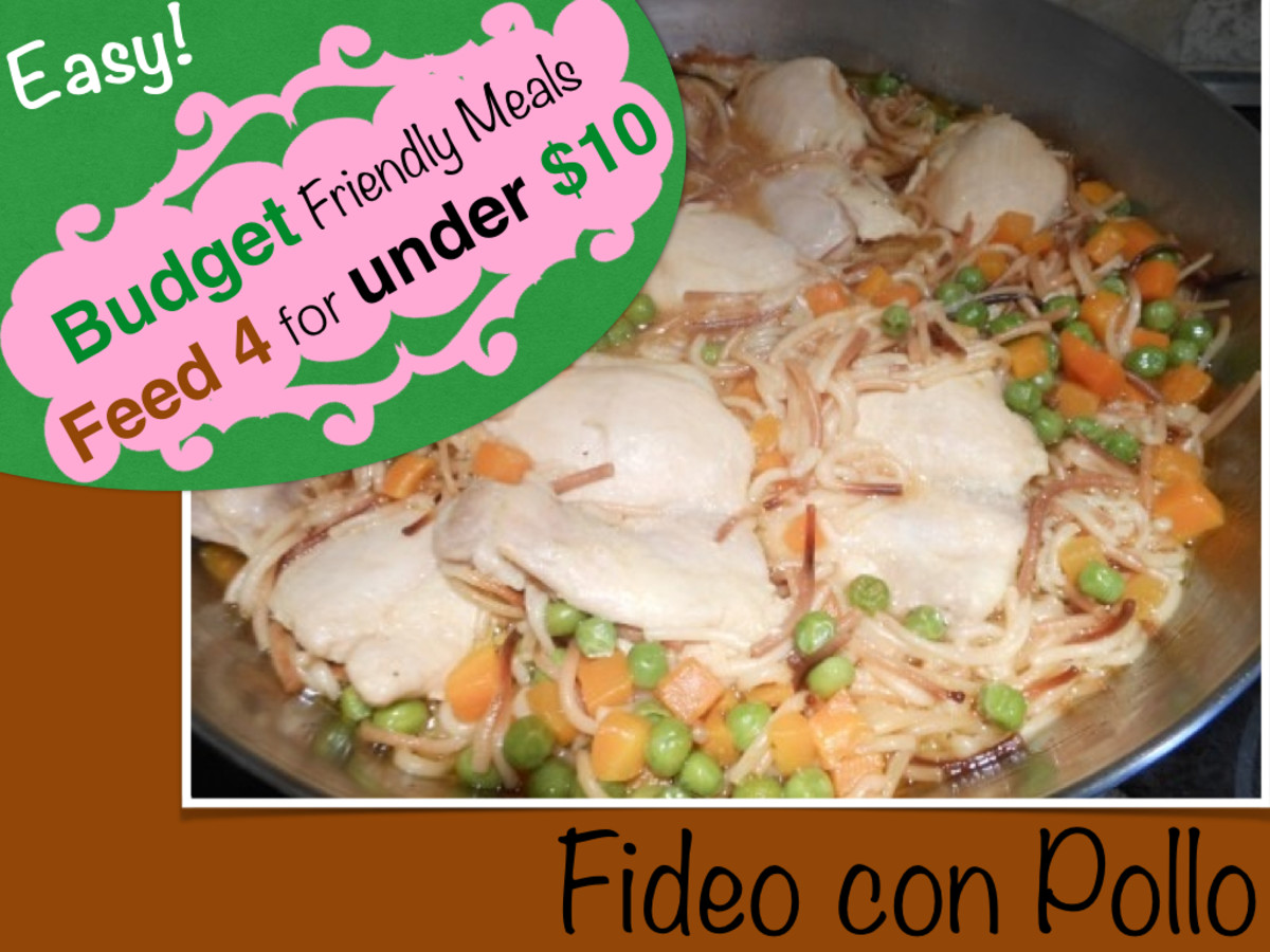 Budget Friendly meals: Fideo con Pollo, this recipe can feed a family of four for under $10.