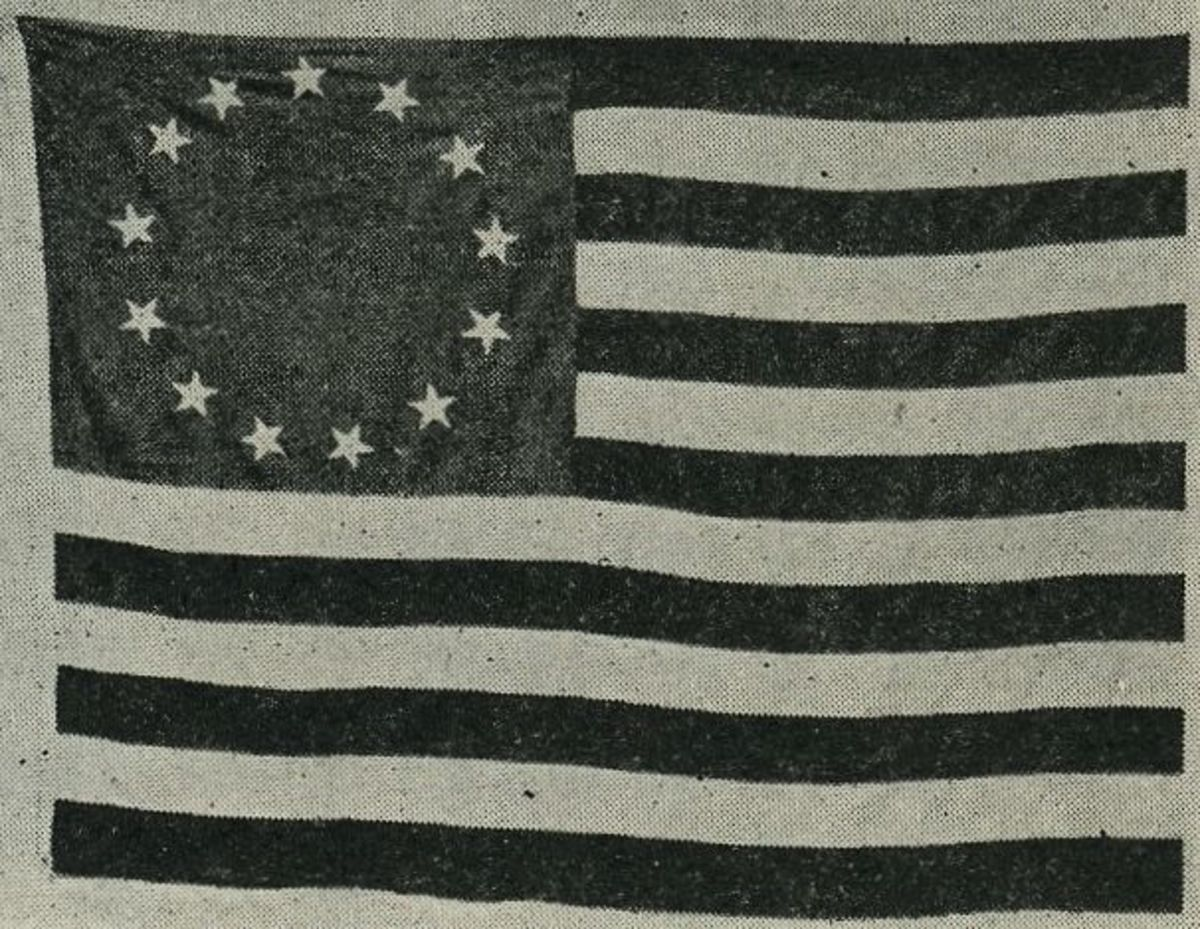 One of the first American flags that Betsy Ross sewed.