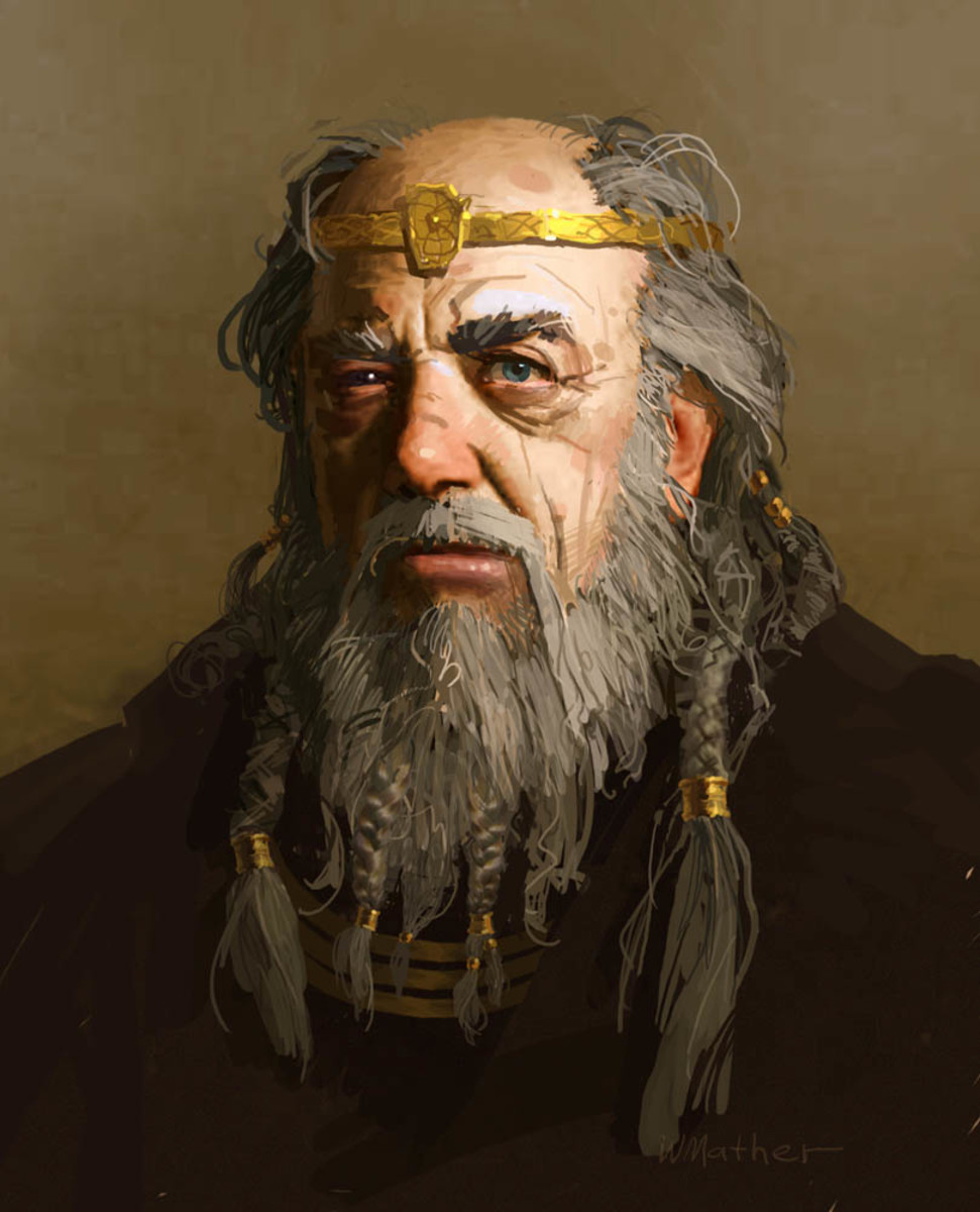 King Hrothgar from the movie Beowulf, starring Anthony Hopkins and Angelina Jolie