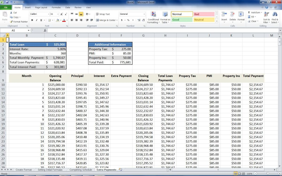 The completed Mortgage Calculator with additional columns for Property Tax, PMI and Property Insurance.