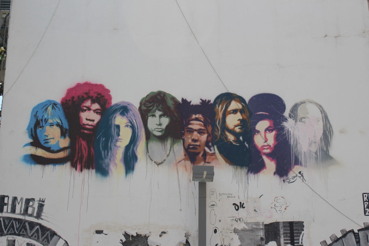 Graffiti in Tel Aviv depicting some of the more famous members of the 27 club.
