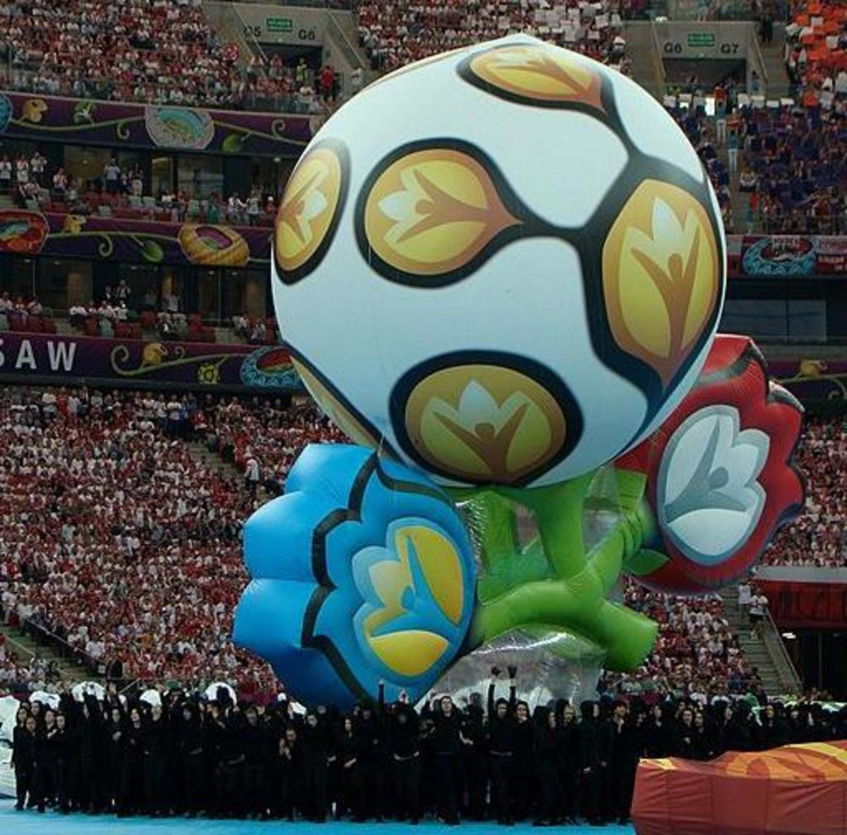 The Euro 2012 logo at the opening ceremony.