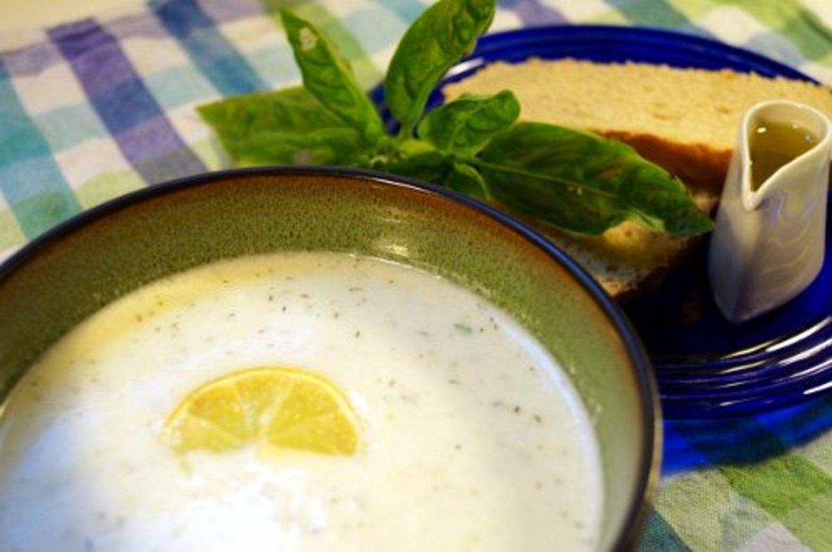 Delicious cucumber soup.