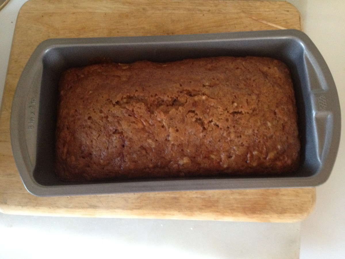 Loaf of zucchini nut bread with crushed pineapple (recipe makes 2 loaves)  Done when brown and the top cracks.