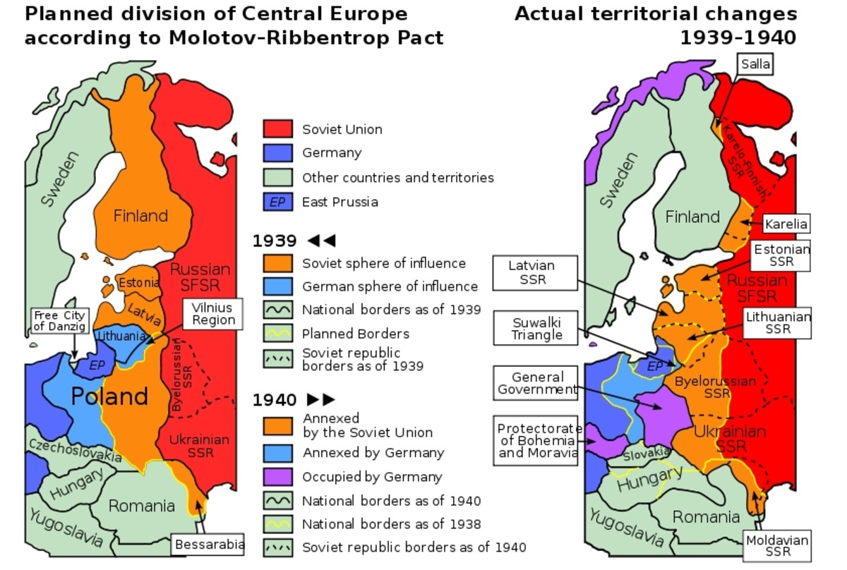 WWII: Molotov-Ribbentrop pact: a political map of central europe in 1939-1940