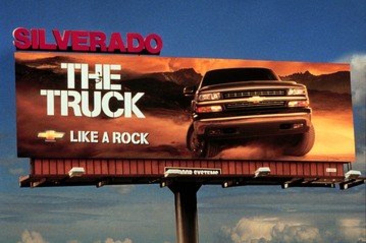 "Similes are a commonly used technique in advertising. One example is the slogan for the Chevy Silverado, which emphasizes the truck's toughness by claiming it's ""Like a Rock."" Another is the catchphrase ""Like a good neighbor, State Farm is there."""
