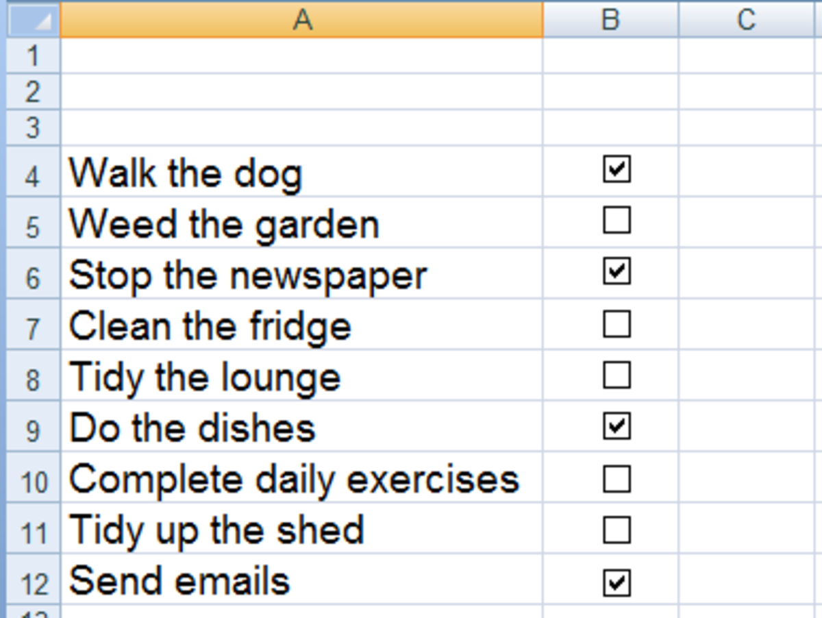 Using check boxes in Excel 2007 and Excel 2010 to create To Do lists.