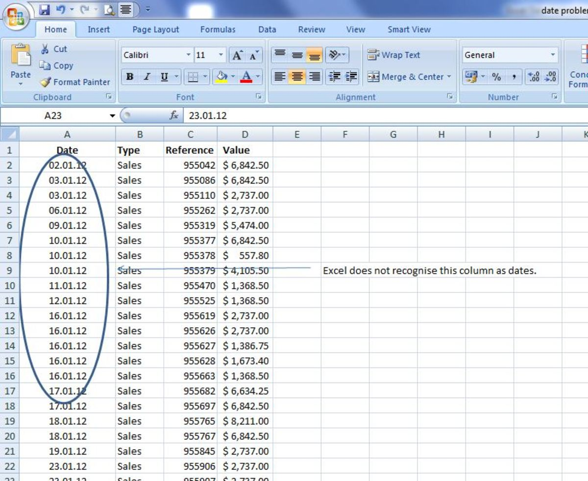 Column A is in a date format that Excel does not recognise.