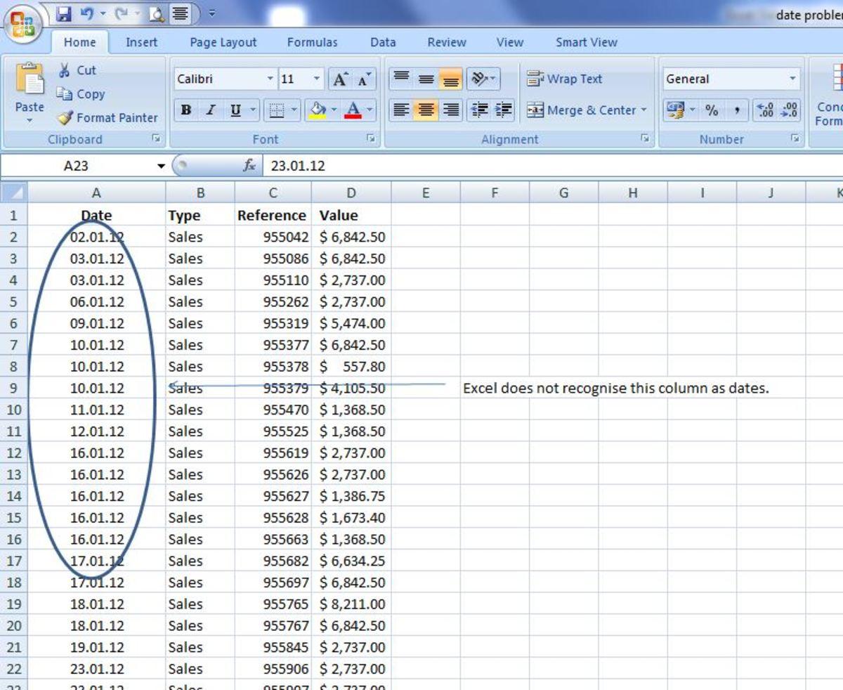 Excel Problems: Fix Date Formats
