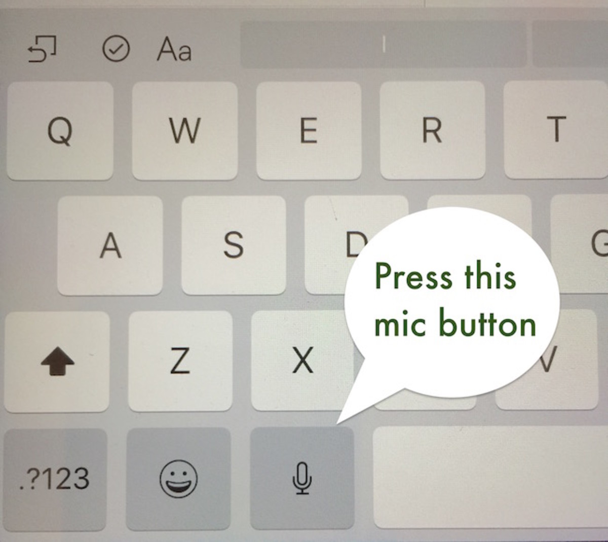 Press the Microphone key on the virtual keyboard and it types what you say.