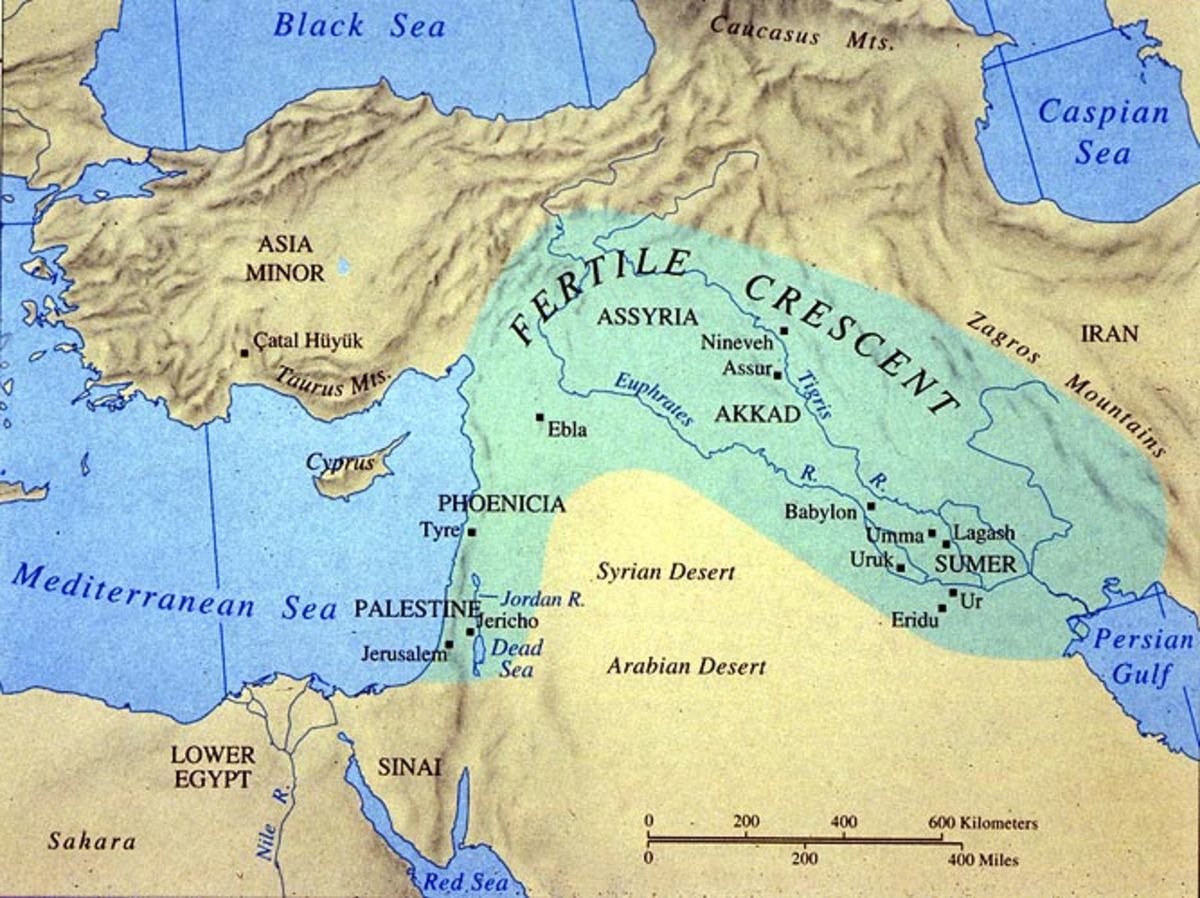 A map depicting the greatest extent of the Mesopotamian empire, shown in green. The area is also known as the fertile crescent.