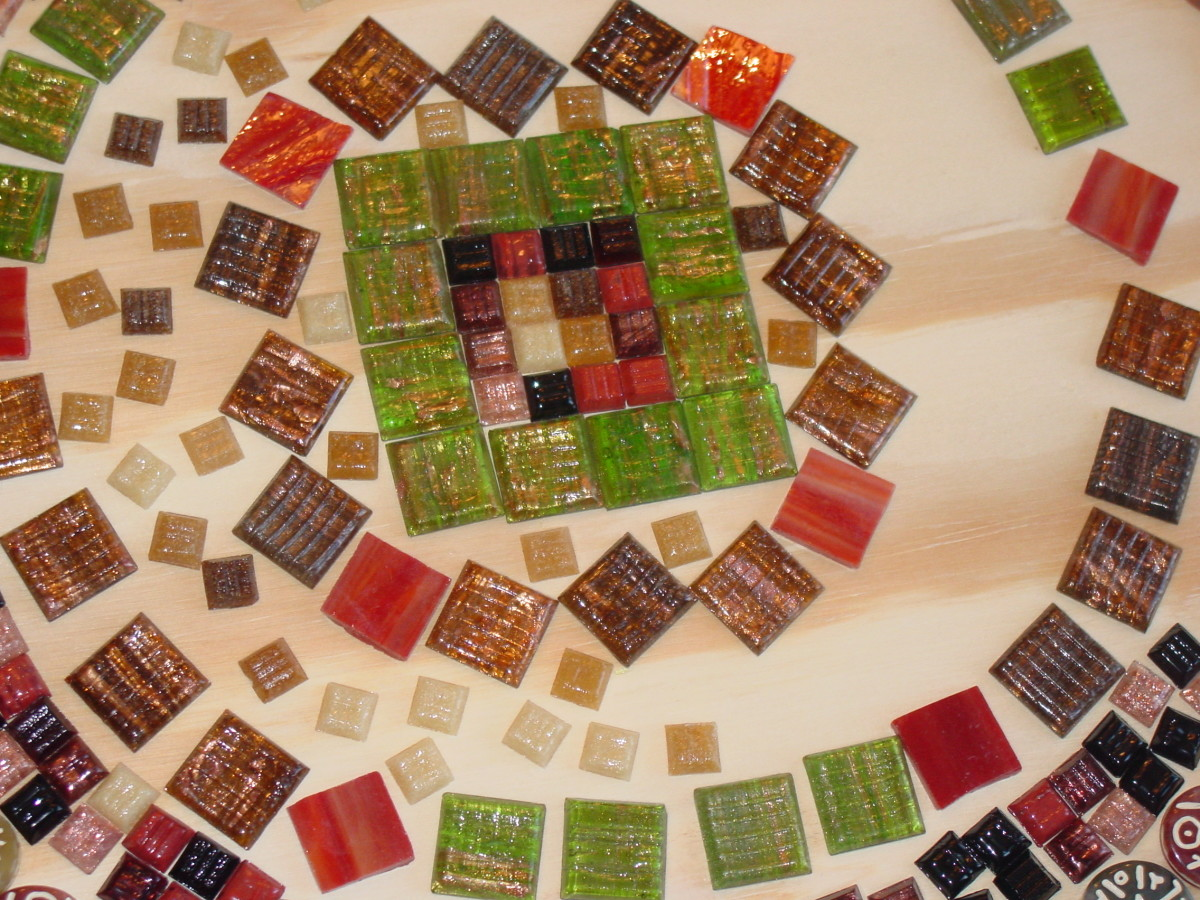 A mosaic tile tabletop