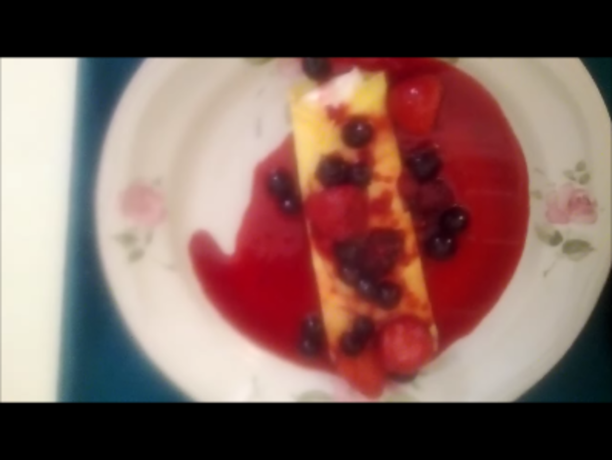 A crepe covered with berries.