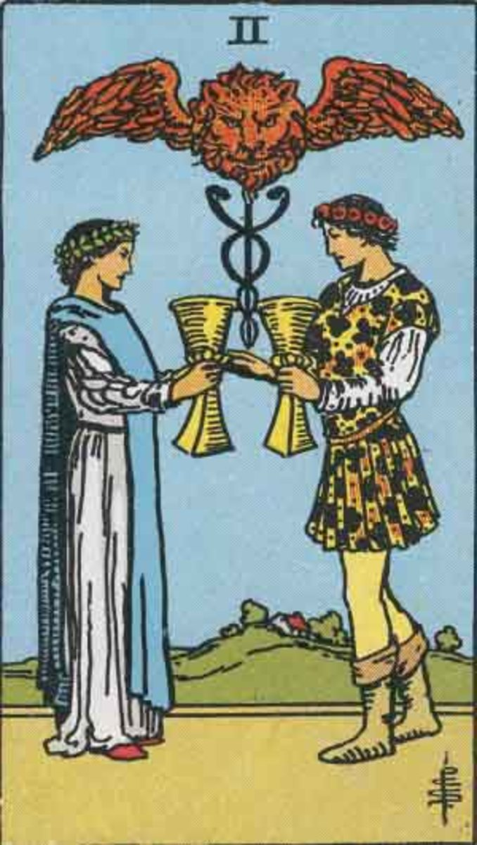 Two of Cups. Copyright-free Rider-Waite, Pamela A version.