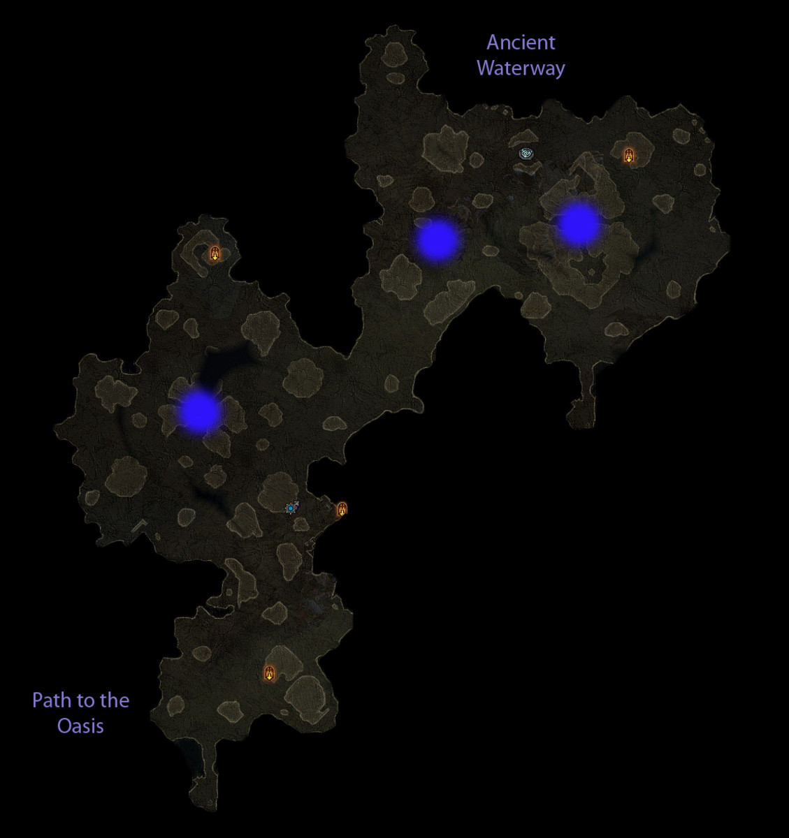 Possible spawn locations of the Shrine of Rakanishu in the Dahlgur Oasis.