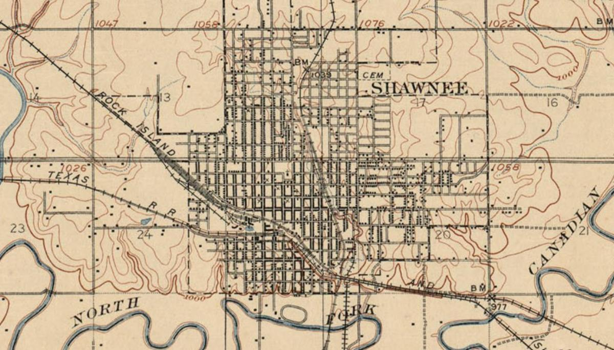 Map of Shawnee, Oklahoma, 1900