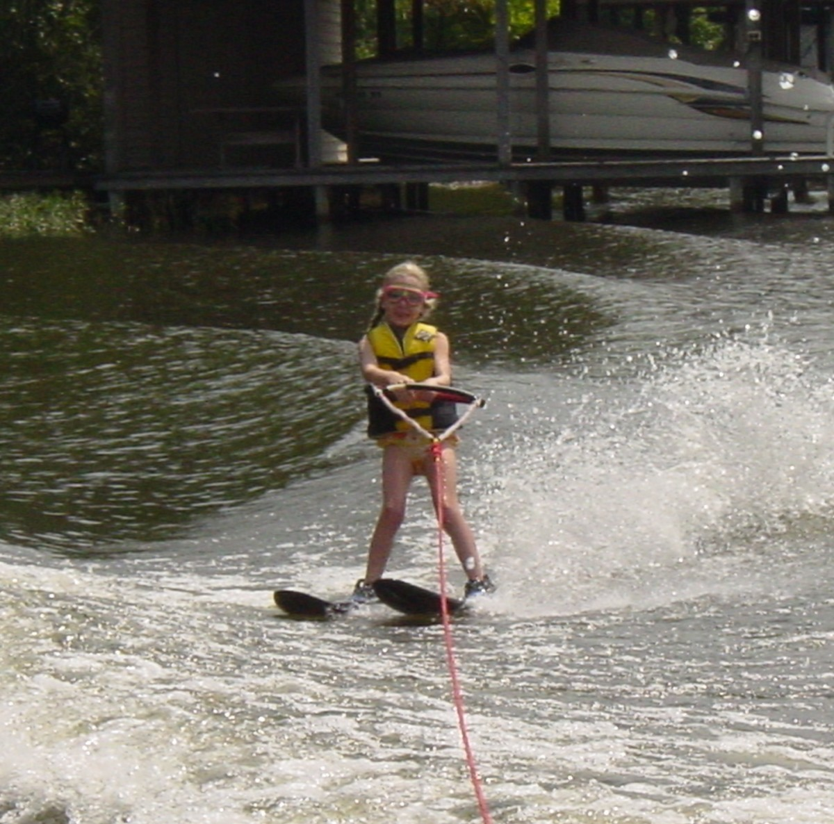 My daughter skiing at age seven on Lake Gaston