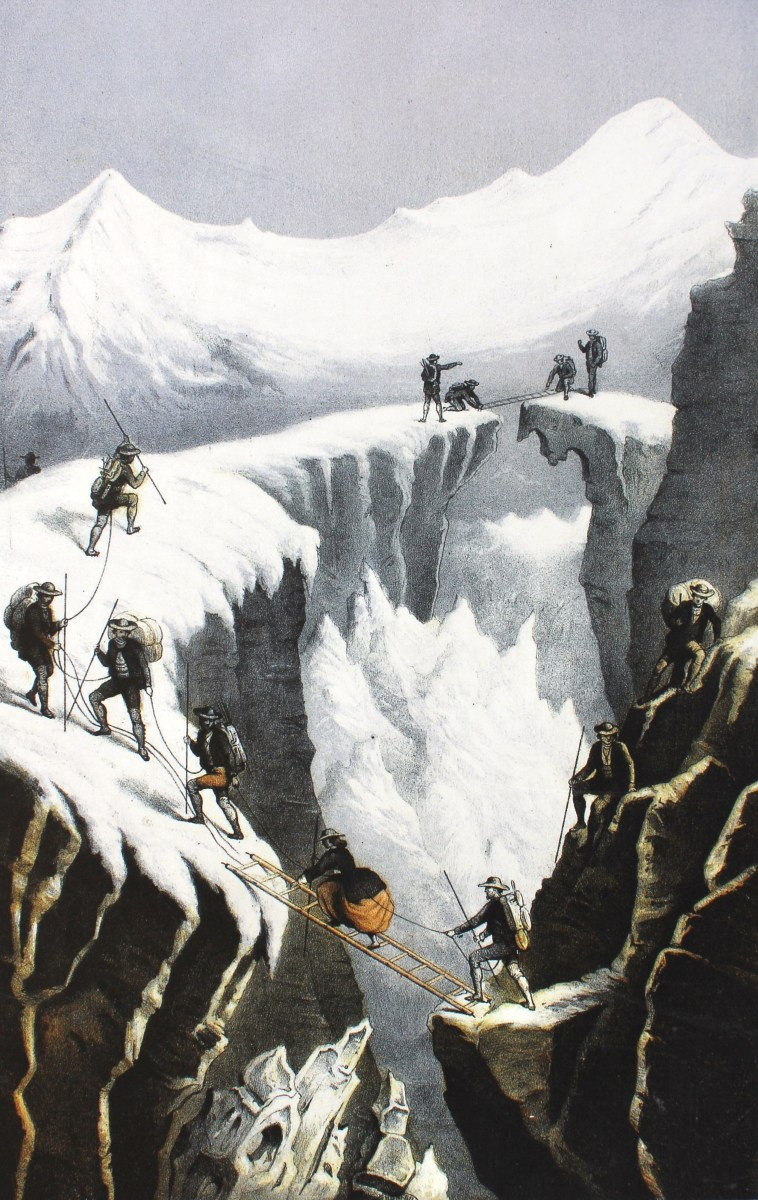 Henriette d'Angeville crossing a crevasse in the company of her guides and porters.