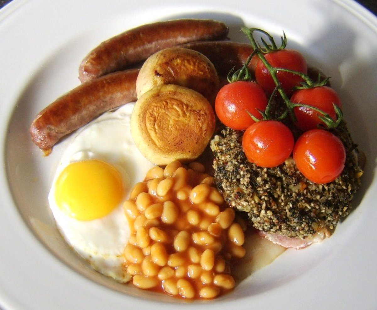 The sun rising on a full Welsh breakfast—a creation which contains a couple of major surprises you are unlikely to find in other British fried breakfasts.