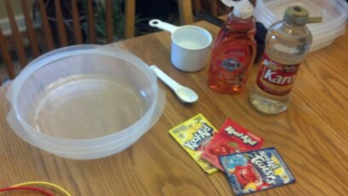 Ingredients to make homemade bubble solution.