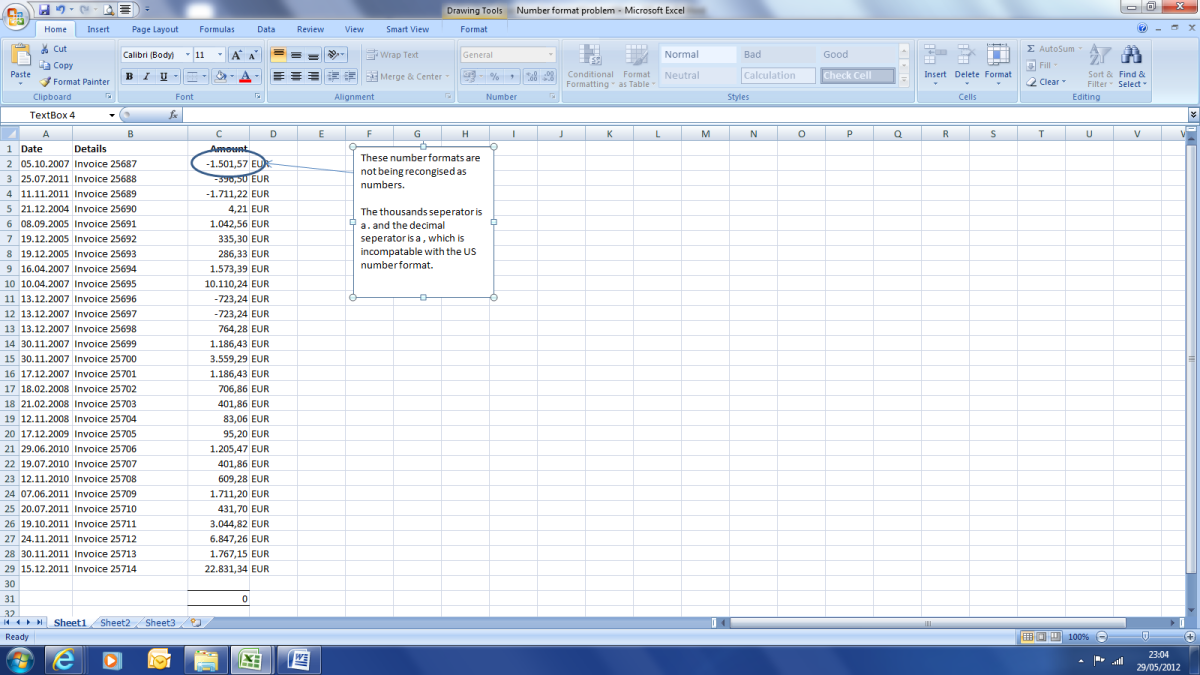 Column C is in a European number format. This is not recognised as numbers by my version of excel