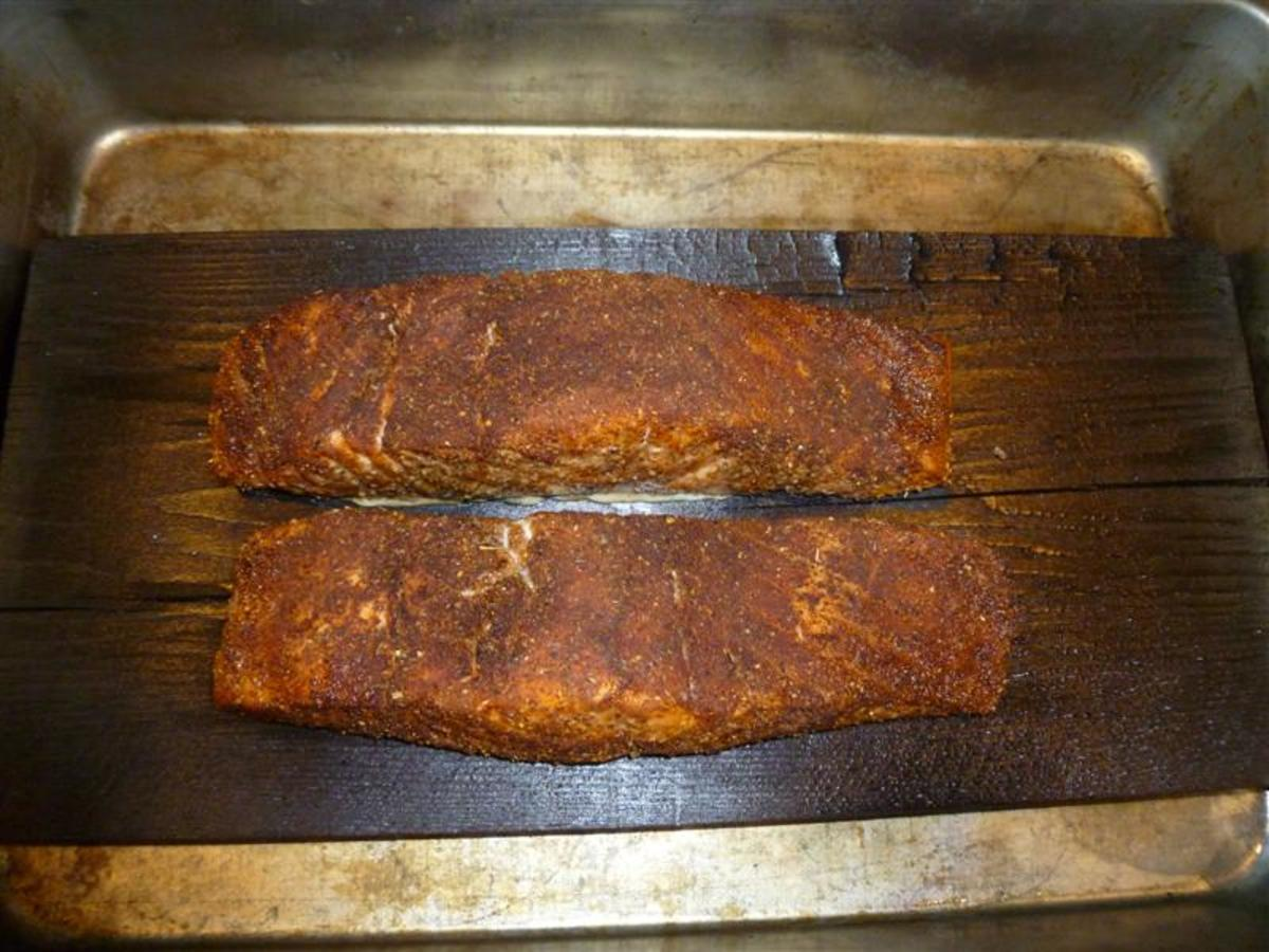 Moist and juicy salmon cooked on a plank