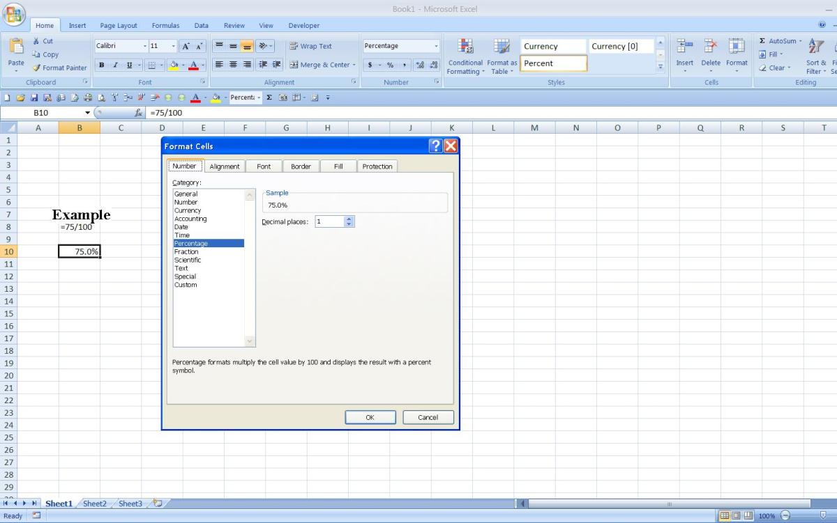 how to write percentage formulas in excel