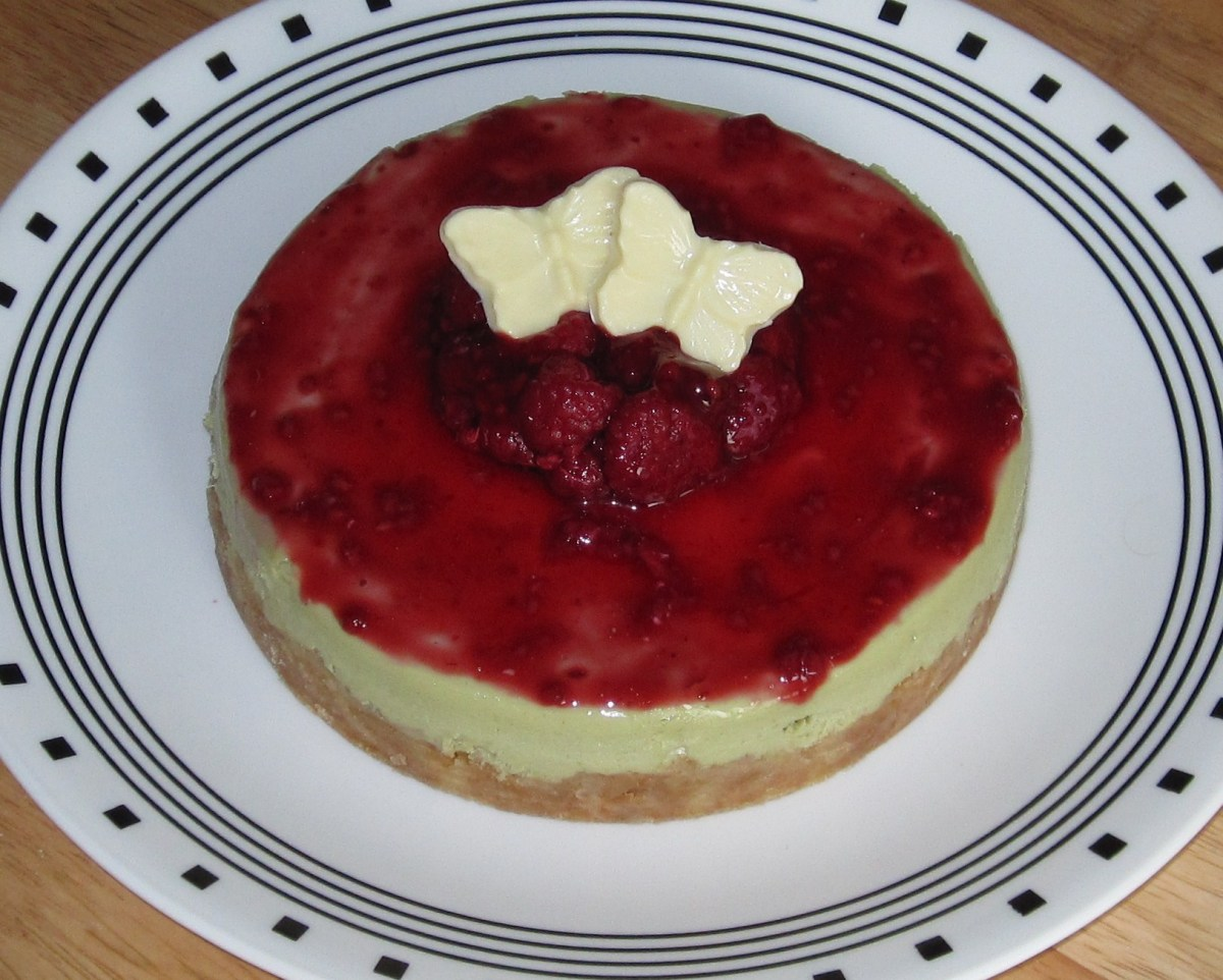 Green Tea Cheesecake With Raspberry Sauce