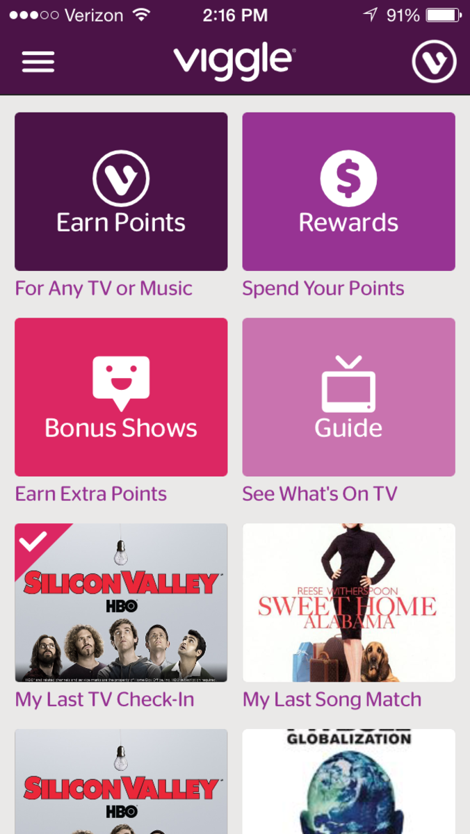 Viggle Home Screen